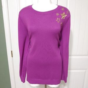Lane Bryant Sequin Star Pullover Sweater 14/16